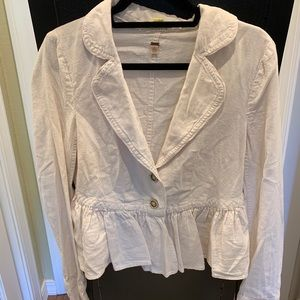 Free people white cropped blazer